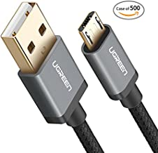 Case of 500, UGREEN Micro USB Cable Nylon Braided Fast Quick Charger Cable USB to Micro USB 2.0 Android Charging Cord for Samsung Galaxy S7 S6, Note, LG, PS4, Xbox One Controller (1.5ft, Black)