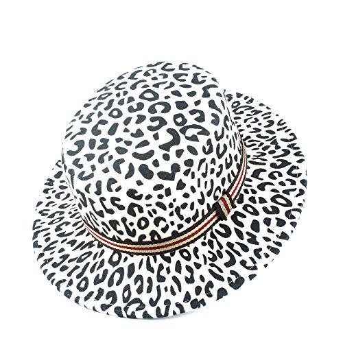 ZHENGHAINIGN Winter Herbst Wolle Damen Herrenmode Fedora Top-Jazz-Hut Flat Top Hat Grenzen Dekorative Gürtel (Color : White, Size : 56-58)