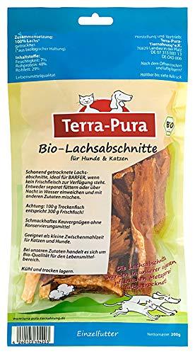 TERRA-PURA Tiernahrung Bio-Lachsabschnitte, getrocknet, Snack für Hunde und Katzen, Ideal für Barfer; 200 g