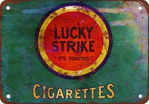 Jesiceny New Tin Sign Lucky Strike Cigarettes Vintage Look Reproduction Aluminum Metal Sign 8x12 INCH
