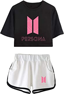BTS Shirt and Short Set Outfit Set T-Shirt and Shorts Crop Top Tee T-Shirt Map of The Soul:Persona BTS Merchandise