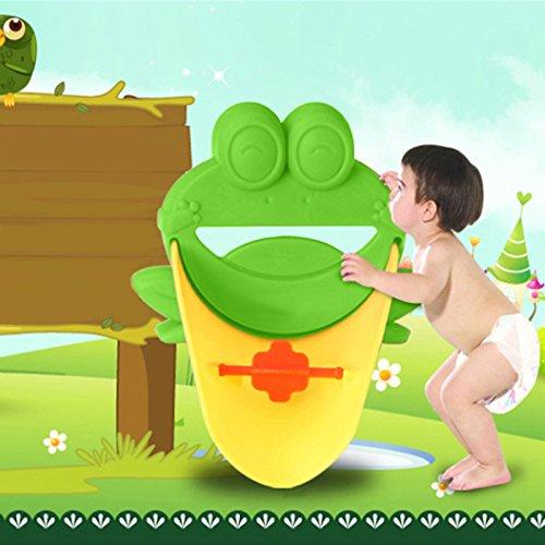 Demiawaking Süß Wasserhahn Verlängerung Extender für Kinder Baby Hände waschen Badezimmer-Cartoon Frosch Design (Grün) - 3