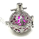 UMBRELLALABORATORY Steampunk FIRE Necklace - Pendant Glow Locket - Great Gifts for Teen Girls, Mother, Father, Little Girls Jewelry-Silver Pink
