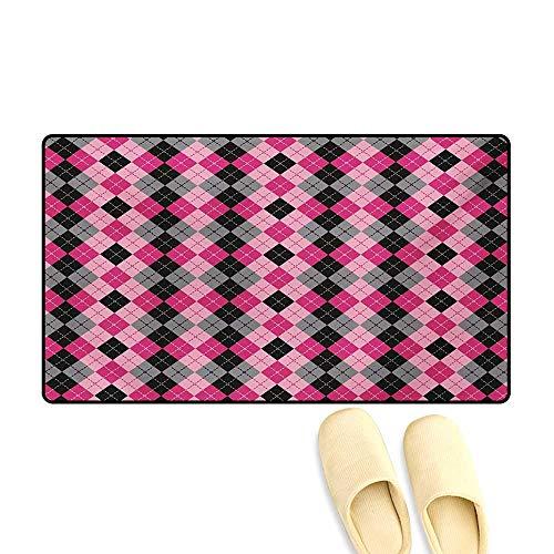 Doormat,Argyle Motif with Diamonds and Lozenges Infinite Symmetric Stripes Image,Bath Mat 3D Digital Printing Mat,Baby Pink Black Grey,32