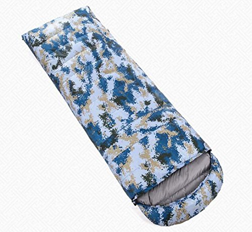 Z&HX sportsSac de Couchage pour Adultes Camouflage en Plein air Sac de Couchage Automne et Hiver Plus Sac de Couchage envelopp¨¦ de Canard ¨¦Pais ¨¦Pais, Blue Camo, 800 Grams of Goose