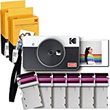 コダック(Kodak)Mini Shot 2 レトロ ポータブル ワイヤレス インスタントカメラ&フォトプリンター &スマホプリンター&ミニプリンター&チェキ&モバイルプリンター 2 in 1 iOS/Android/Bluetoothデバイス対応 実物の写真(2.1x3.4インチ/5.3x8.6cm)4Passテクノロジー - ホワイト 60シート入り