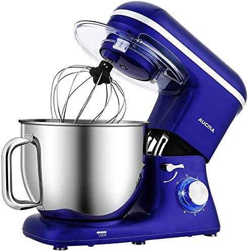 Aucma Amasadora planetaria Oferta 1400 W, Robot de cocina grande mezclador, mezclador de cocina de 7 l, 6 velocidades eléctrico, robot de cocina multifunción con gancho amasador, batidora, azul