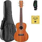 Cordoba 15CM Concert Acoustic Ukulele Bundle with Cordoba Deluxe Gig Bag, Cordoba Tuner, and Extra Set Aquila 7U Strings