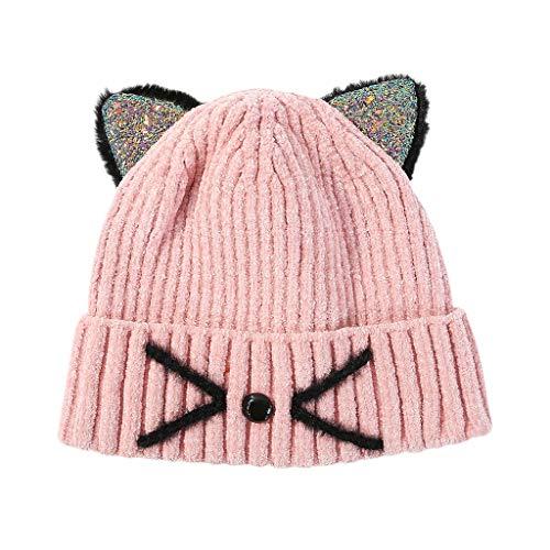certylu Tägliche Mütze, Kinder Pailletten Ohren Strickmütze Winter Bestickt Meow Cat Cuffed Beanie Cap