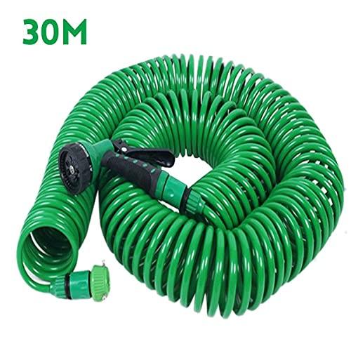 Manguera de agua de jardín flexible de 7,5 m/15 m/30 m, para manguera de coche, mangueras de plástico, riego de jardín con pistolas de pulverización (color 30 m)