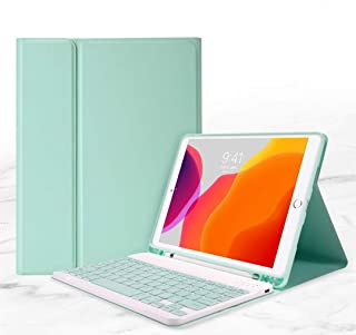 ペンホルダー内蔵 2020 新型 iPad8/7 10.2 インチ 分離式 キーボード ケース オートスリープ スタンド機能 iPad 第8/7世代 手帳型 キーボードカバー (iPad8/7 10.2インチ, ミントグリーン)