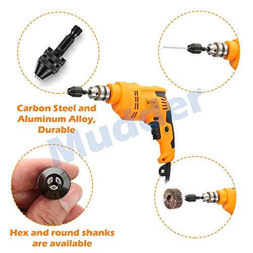4 Pieces Keyless Drill Chuck, 1/4, 1/8, 1/16 Inch Hex and Round Shanks Small Drill Chuck Change Adapter