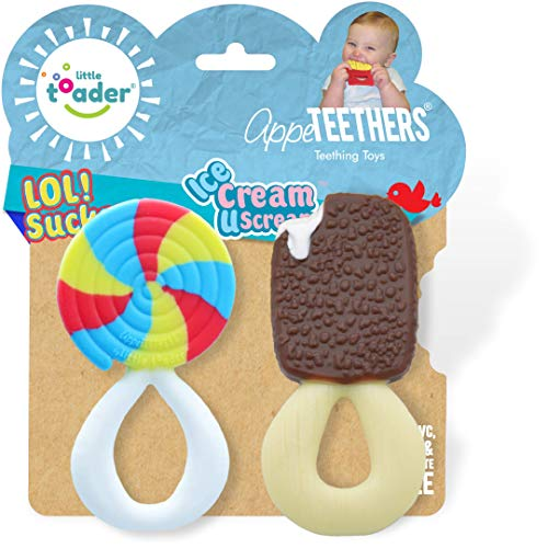 Little Toader  Baby Teether Toys – AppeTEETHERS LOL Sucker and Ice Cream U Scream combo pack candy teether  For Teething Infants and Toddlers newborn and 3 Month