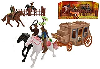 Toyland Wild West Cowboy & Stagecoach Play Set - Includes 4 Horses, 4 Riders, Fences & Stagecoach