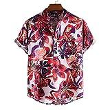 GBEN Funky - Camisa hawaiana de hombre de manga corta y verano, casual, con botón Down, impresión de camiseta de moda hawaiana para hombre