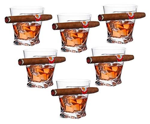Vidrio de whisky, vaso de whisky antiguo con soporte de cigarro montado lateral, hecho a mano del cristal libre de plomo, para los amantes del espíritu y el cigarro, conjunto de 6 Decantador de whisky