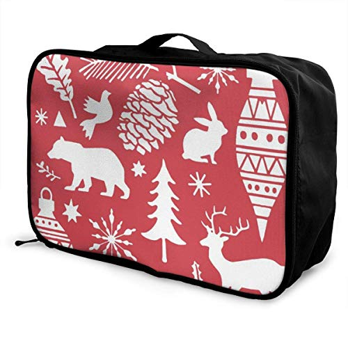 Koffertaschen Christmas Doodle With Deer Bear Snowflakes Travel Duffel Luggage Bag Large Capacity Portable Water Resistant Lightweight Travel Duffel Tote Bag With Trolley Sleeve Overnight Bag