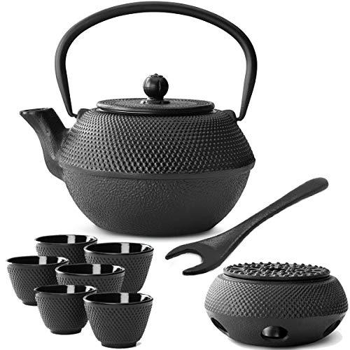 Bredemeijer kleine zwarte Aziatische theepot set 1.1 L gietijzer met theefilter zeef theebeker (6 kopjes) & deksellifter