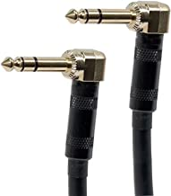 Monoprice 8-inch Premier Series 1/4inch (TRS or Stereo Phono) Male Right Angle to Male Right Angle 16AWG Cable (Gold Plated)
