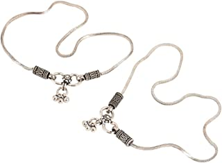 IndianShelf 92.5 Sterling Silver Plain Chain Silver Anklets Payal with Floral Design for Girls and Women(Silver_5.6 Inches)