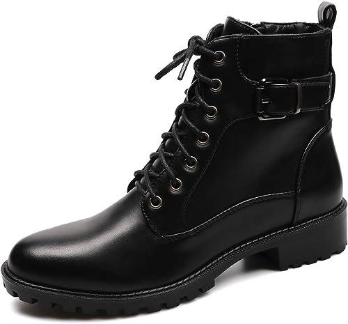 Winter Plus Velvet Warm Martin botas botas impermeables de plataforma para mujer zapatos con hebilla de cinturón Botines para mujer (Color   negro, tamaño   37)
