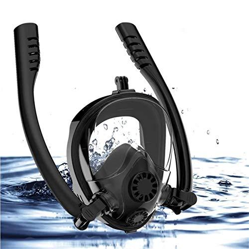 Al Aire Libre Anti-Niebla de la Cara Llena Scuba Snorkel máscara del Salto Doble Tubo de Soporte de la cámara Gafas de natación con Go-Pro Accesorios de Kayak (Color : Black)