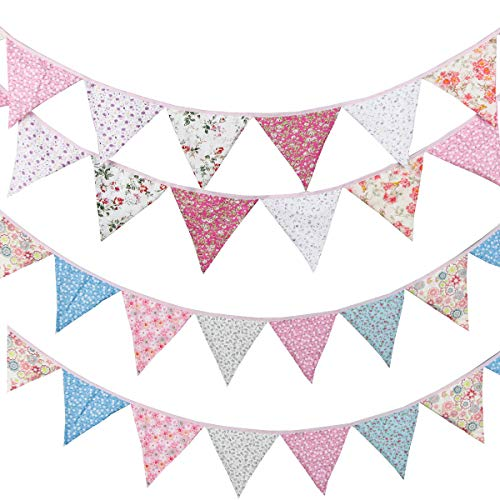 Leixi 21ft Floral Bunting Banner,24pcs Vintage Reusable Cotton Triangle Flag Garland Decoration,Great for Garden Wedding Baby Shower Birthday Parties (21ft)