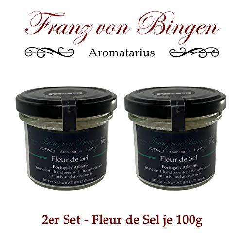 Franz von Bingen - 2er Set Fleur de Sel aus Portugal (Atlantik) - feinstes Premium-Salz - reine und natürliche Kristalle (2 x 100g) - Gewürzmanufaktur