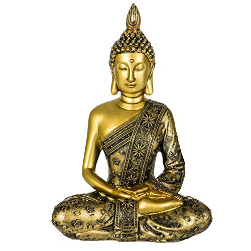 YINASI Meditating Buddha Statue, Antique Handmade Resin Seated Buddha Blessing Statue Figurine Decoration for Tabletop Desk Living Room Bedroom Office Hotel