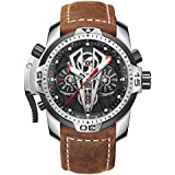 Reef Tiger Mens Sport Mechanical Watches with Steel Black Dial Automatic Watch Calfskin Leather Strap RGA3591 (RGA3591-YBC)