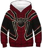 EUDOLAH Jungen Sweatshirts für 4-13 Alter Kinder Langarm 3D Druck Mehrfarbig Bunt Kids Herbst Winter Hemd mit Kaputzen 0-Rote Spinne XS