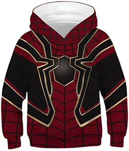 EUDOLAH Jungen Sweatshirts für 4-13 Alter Kinder Langarm 3D Druck Mehrfarbig Bunt Kids Herbst Winter Hemd mit Kaputzen 0-Rote Spinne S