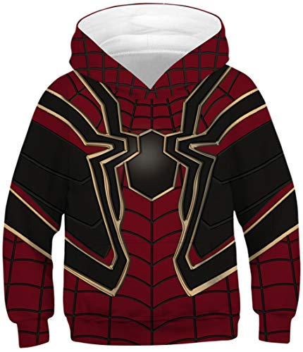 EUDOLAH Jungen Sweatshirts für 4-13 Alter Kinder Langarm 3D Druck Mehrfarbig Bunt Kids Herbst Winter Hemd mit Kaputzen 0-Rote Spinne L