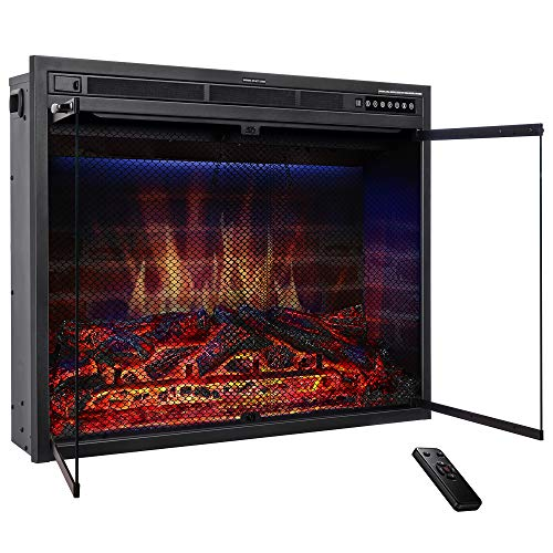 "JAMFLY 33"" Electric Fireplace Insert Heater Freestanding Brick Panel LED Flame,with Timer,Touch Screen, Remote Control,Indoor,Living Room 750W-1500W,Black electric Fireplace inserts"