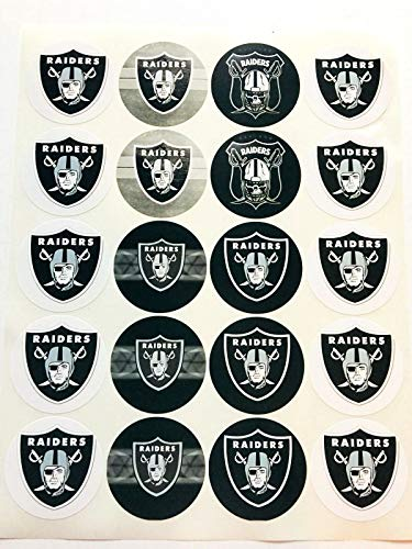 Set of 20 Decals Oakland Raiders 2' Each Adhesive Sticker for Cups, Bags, lockers, Water Bottles, laptops