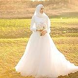 HIN GU - Wedding dress Vestido de novia Vestido de novia de lujo musulmán apliques Arabia Saudita manga larga elegante vestido de novia turco (Color : Ivory, US Size : 18W)