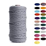 Binwat - Hilo de algodón natural para macramé. Para hacer manualidades, colgar cosas en la pared, colgar plantas, tejer, proyectos decorativos, etc. (3 mm, 100 m), gris, 3mm x100m