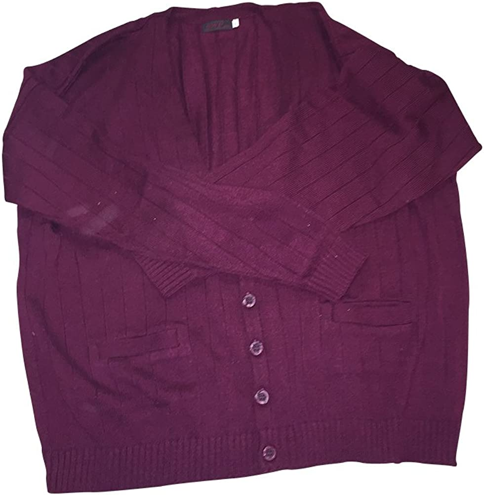 5XLT Big and Tall Burgundy Vertical Stripe Acrylic Cardigan Made in USA 5X-Tall