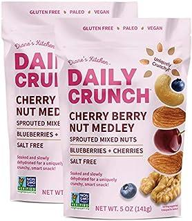 Daily Crunch Cherry Berry Nut Medley, Salt-Free - Sprouted Healthy Trail Snack Mix, Gluten-Free, Vegan - Crunchy, Dehydrat...