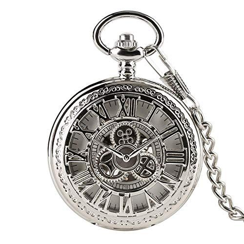 HBIN Reloj de Bolsillo mecánico analógico Vintage con Cadena Plateada