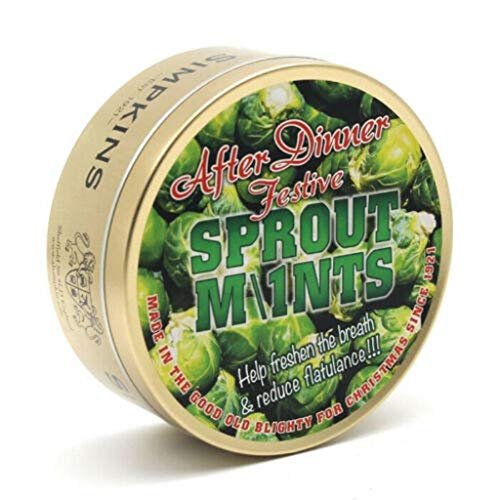 After Dinner Sprout Mints Drops - Simpkins Travel Sweets 200g - Christmas Limited Edition