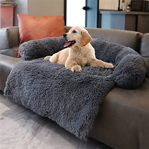 Hundebett Flauschige Hundedecke, Hundebett Couch Für Sofaschutz, Kofferraumschutz Hundedecke, Super Softe Plüsch Zwinger, Hundedecke Waschbar Decke Warmes Katzenbett Sofa Matte, L Dark Brown