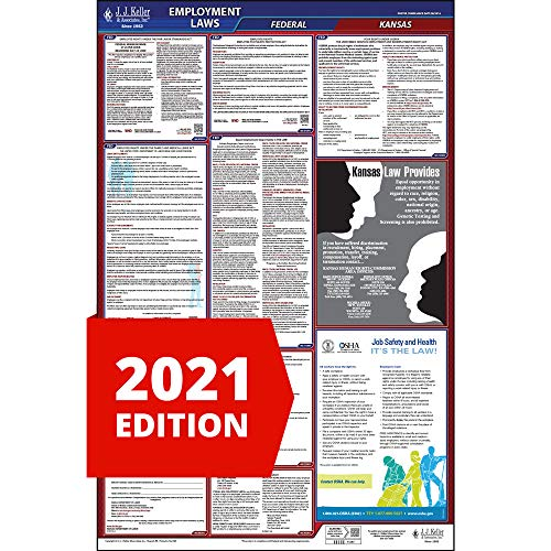 2021 Kansas Labor Law Poster, All-in-One OSHA Compliant KS State & Federal Laminated Poster (26