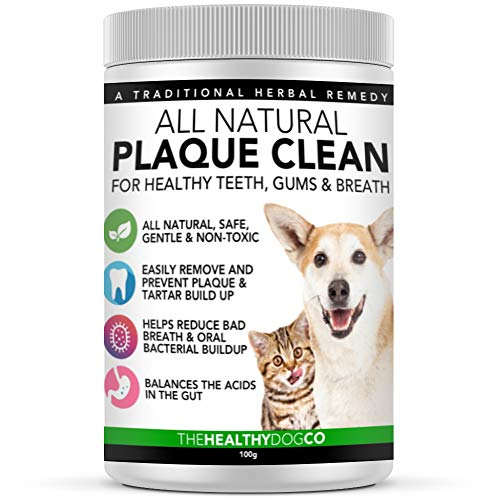 All Natural Plaque Clean | Cat & Dog Plaque Remover & Bad Breath Freshener Powder | 160-320 Servings | 160ml/100g | The Healthiest Choice in Pets Teeth Cleaning Products to Prevent Gum Disease