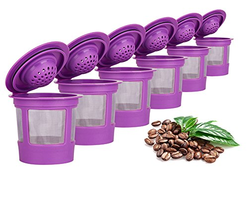 Maxware 6 Reusable Refillable Coffee Filters For Keurig Family 2.0 and 1.0 Brewers Fits K200, K300/K350/K360,K450/K460, K500/K550/K560 (Purple, 6)
