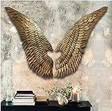XYYMC Esculturas de Pared,Hierro Retro Alas Decoración de Pared Grande Alas de Angel Montado en la Pared Bar Loft Industrial Style para el hogar, Sala de Estar, Dormitorio, mesita de Noche (L)