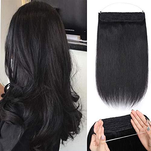 Silk-co Extension Cheveux A Double Fil Réglable 100% Cheveux Humains Naturels Epais 120G Invisible Extension Fil Transparent Sans Clips - 22 Pouces[#1