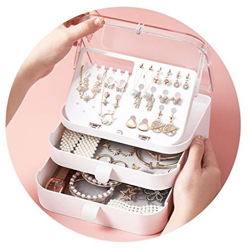 Joyería Joyero para niña Caja de Almacenamiento de Pendientes Soporte de exhibición Gran Capacidad Caja de Collar Impermeable y a Prueba de Polvo (Color : Pink, Size : 17.5 * 12.5 * 10cm)