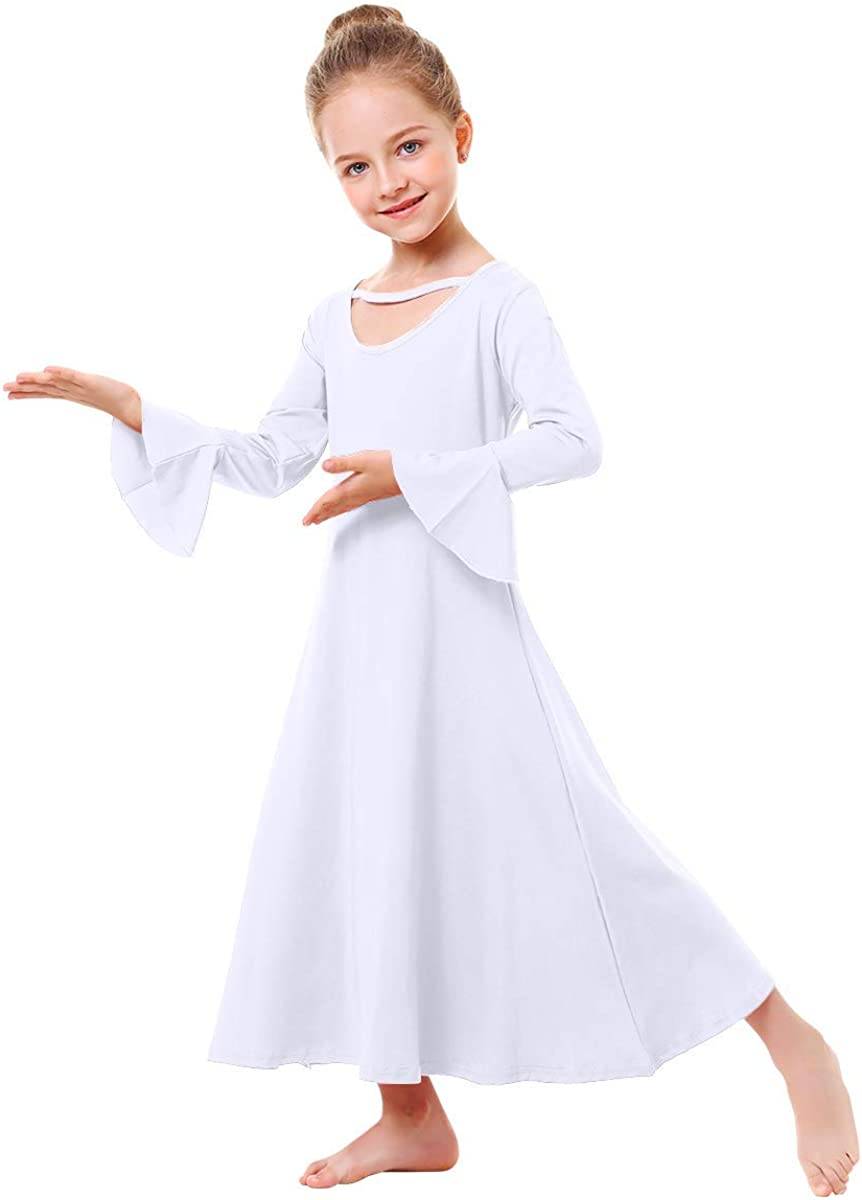 IBAKOM Girls Praise Loose Complete Free Shipping Fit Japan's largest assortment Full Dance Length Long Sleeve Dres