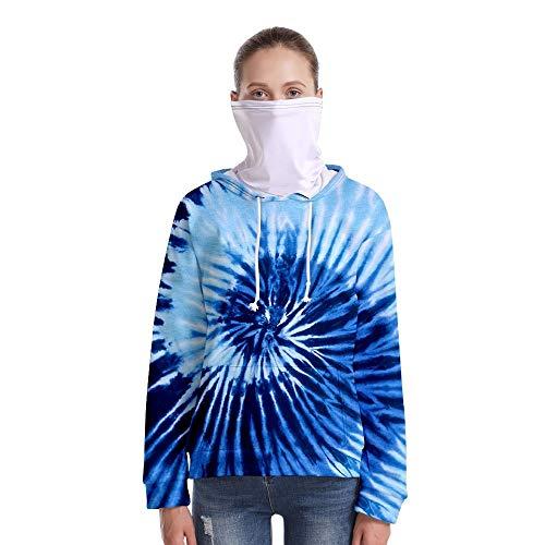 T-Shirt À Manches Longues,Casual Long Sleeve Loose Imprimé Bleu Tourbillon Unisex Pull À Cordon Tops Chemisier Chemise avec Écharpe Hommes Hommes Automne Hiver Pullover Sweatshirt, 3XL